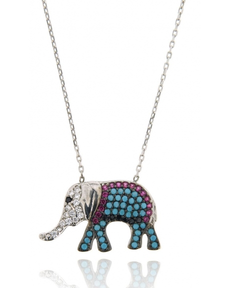 White Multi-color Elephant Necklace