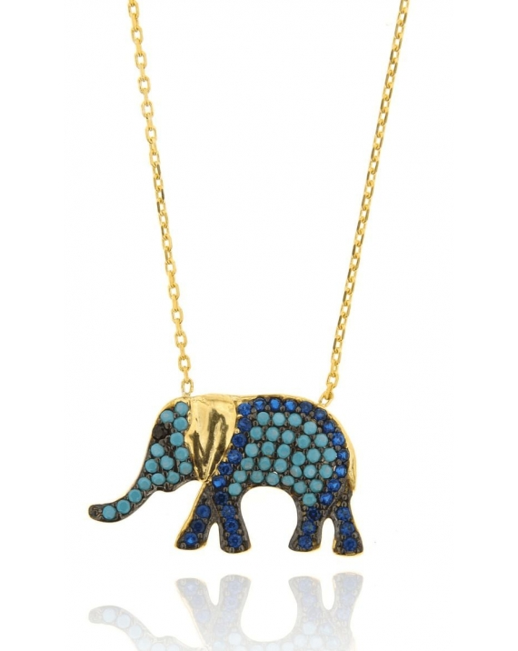Sterling Silver Yellow Multi-color Elephant Necklace