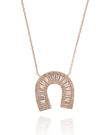 Rose Baguette Horseshoe Necklace
