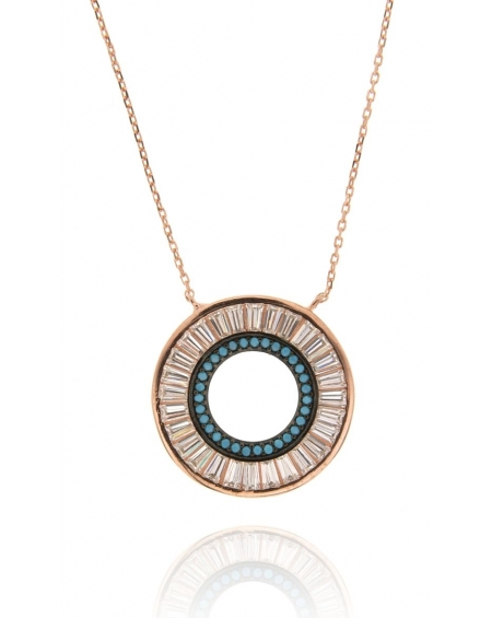 Rose Baguette Halo Necklace