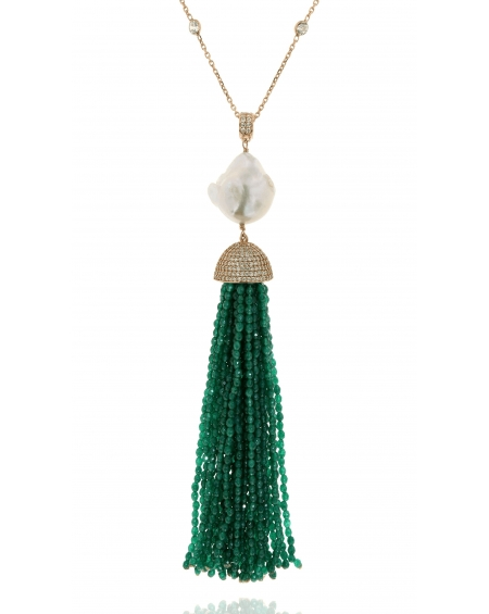 Sterling Silver Jade Baroque Tassel Necklace