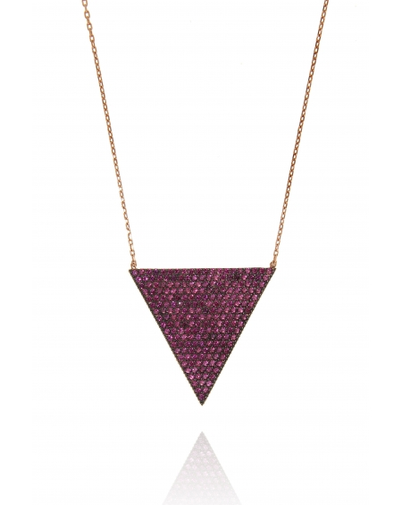 Multicolor Rose Triangle Necklace
