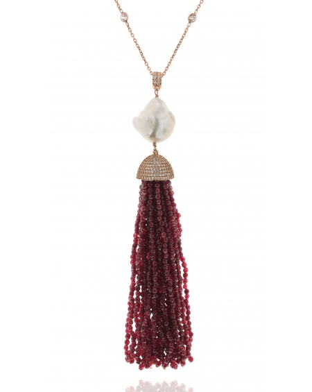 Sterling Silver Red Jade Baroque Tassel Necklace