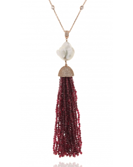 Red Jade Baroque Tassel Necklace