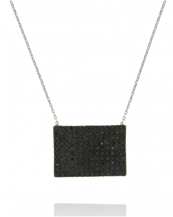 Sterling Silver Rectangular White Necklace
