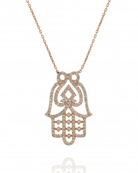 listing of fatima hand hamsa plated il jewelry rose gold necklace