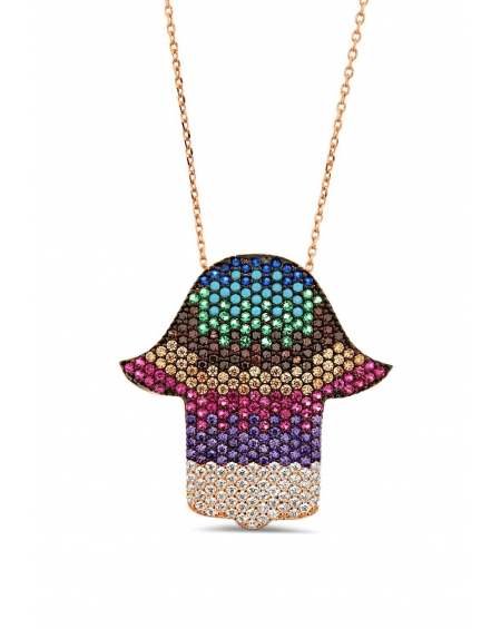 Medium Multicolor Hamsa Necklace