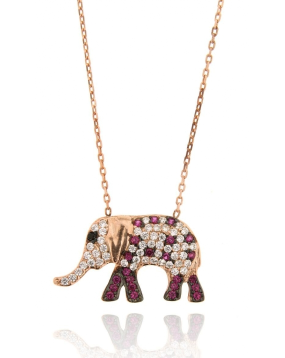 Sterling Silver Rose Multi-color Elephant Necklace