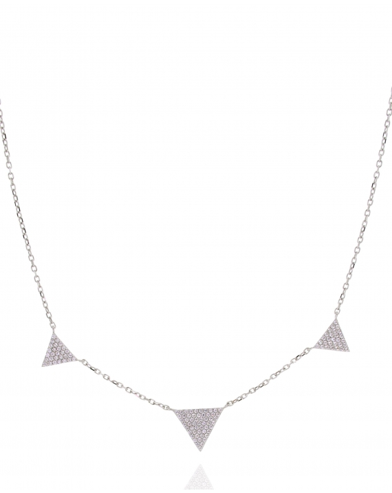 Sterling Silver Three CZ Triangle Necklace