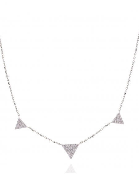 Three CZ Triangle Necklace