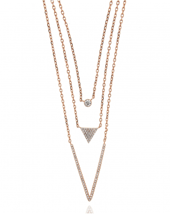 Sterling Silver Three Strand CZ Necklace