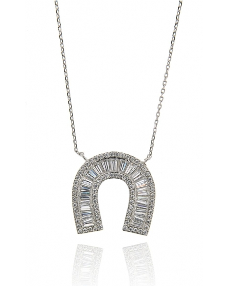 White Baguette Horseshoe Necklace