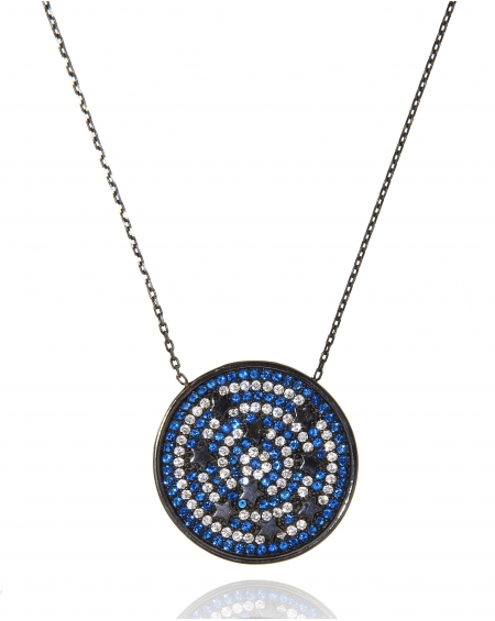 Sterling Silver Stars Circle Necklace
