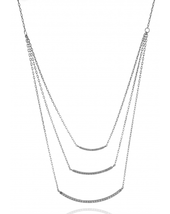 Three Strand CZ bar Necklace