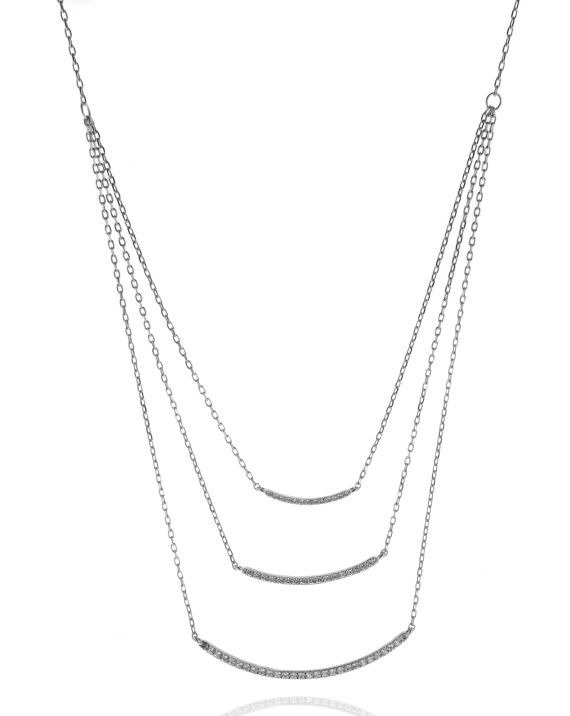 Sterling Silver Three Strand CZ bar Necklace