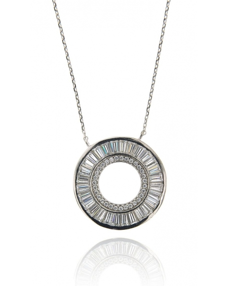 White Baguette Halo Necklace