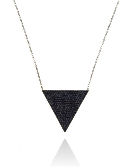 Sterling Silver Multicolor White Triangle Necklace