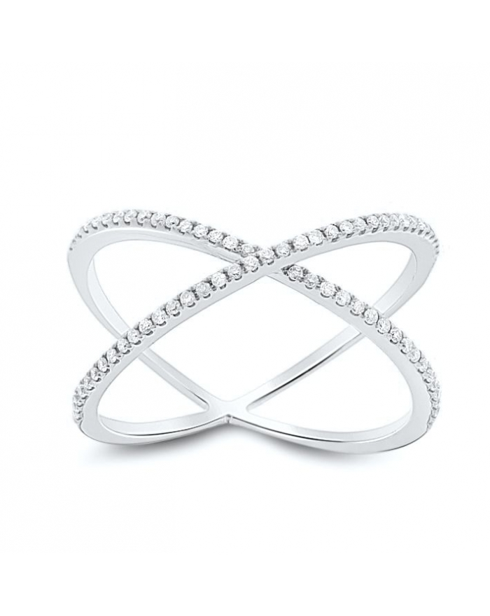 Dainty X Diamond Ring in 18k White Gold 0 22ct