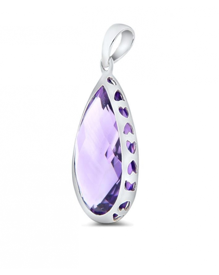 Amethyst pendant in 14k white gold cosanuova amethyst pendant in 14k white gold mozeypictures Image collections