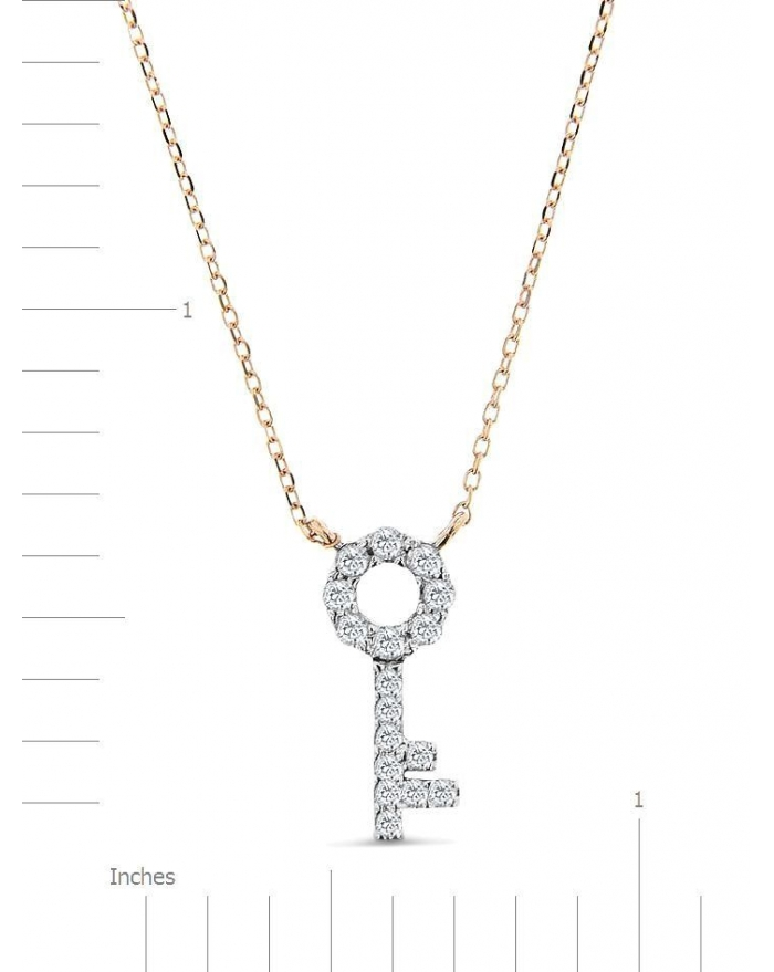 Rose Gold Key Necklace With Round Diamonds In USA | Cosanuova