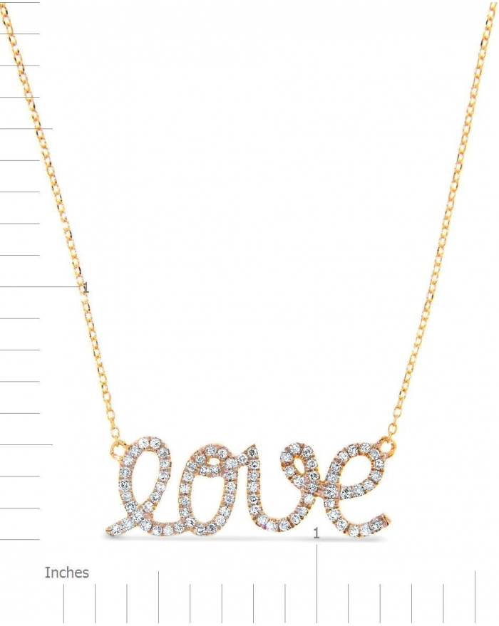 Yellow gold love necklace in 14k round set diamonds cosanuova aloadofball Image collections