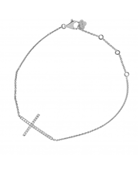 Cross Bracelet in 18k White Gold .14ct