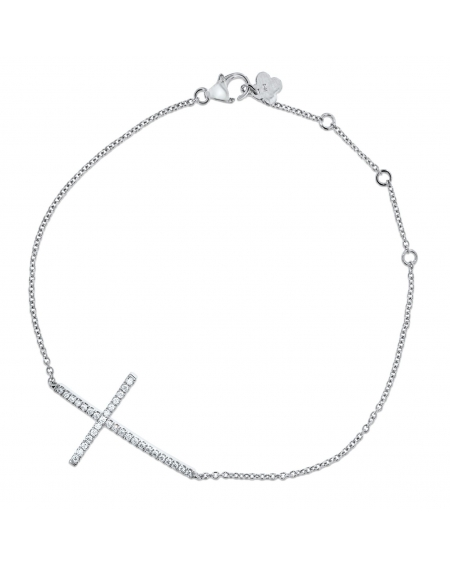 Cross Bracelet in 18k White Gold .16ct