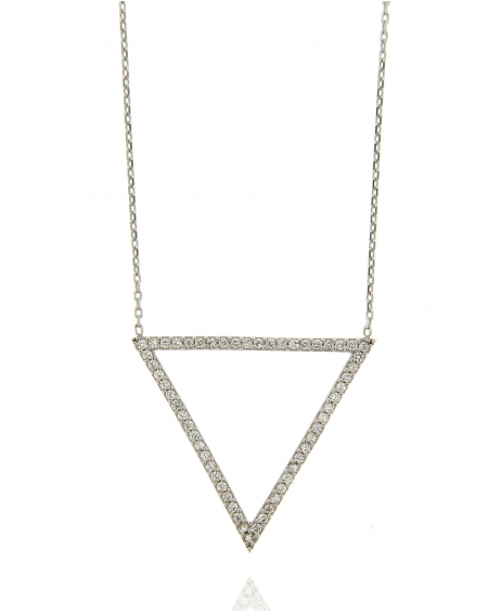 Open Triangle CZ Necklace