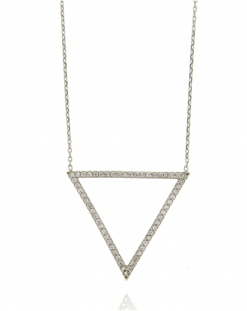 Sterling Silver Open Triangle CZ Necklace