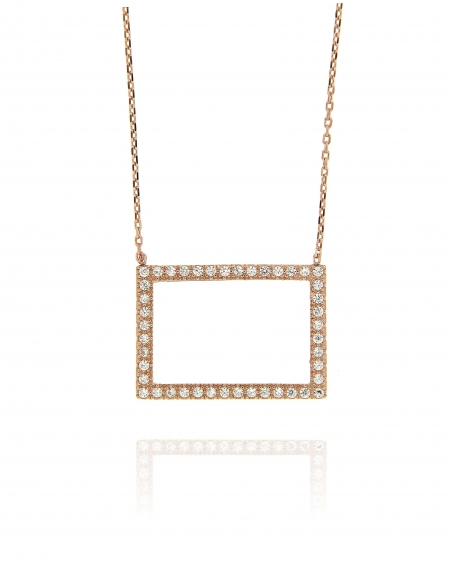 Open Rectangular CZ Necklace