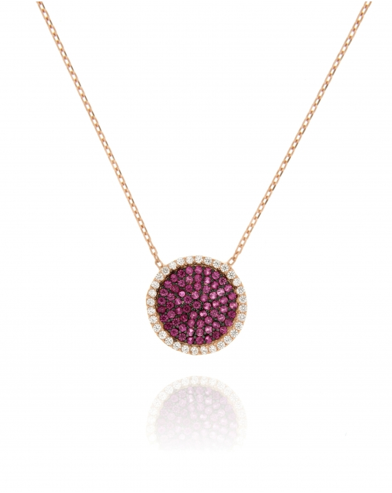 Sterling Silver Rose Pave CZ Disc Necklace