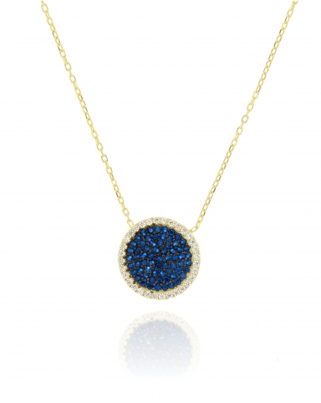Sterling Silver Yellow Pave Disc CZ Necklace