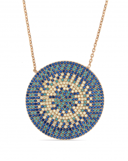 Flat Turquoise Disc Necklace