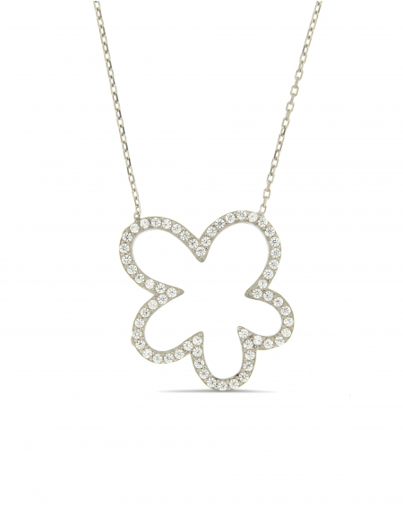Sterling Silver White Flower Necklace