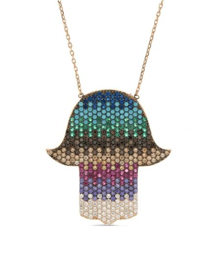 Sterling Silver Multicolor CZ Hamsa Necklace