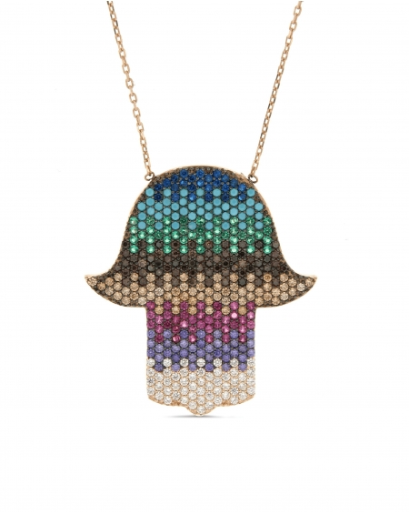 Multicolor CZ Hamsa Necklace