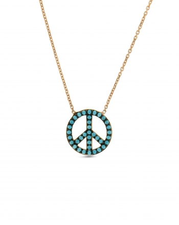 Sterling Silver Turquoise Peace Sign Necklace
