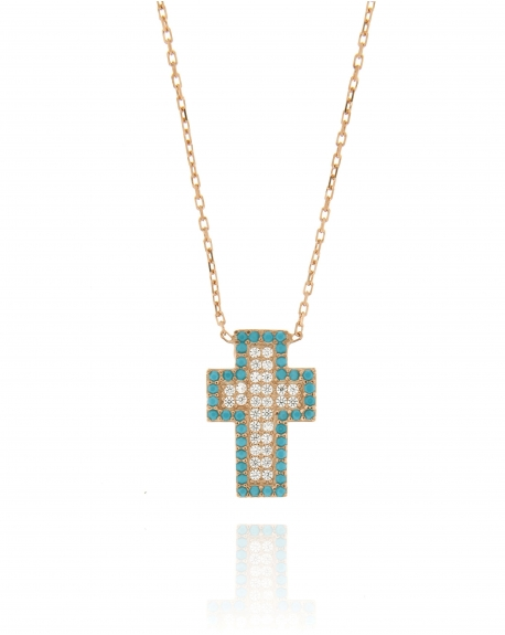 Turquoise CZ Cross Necklace