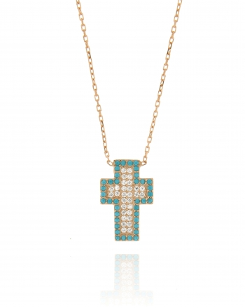 Sterling Silver Turquoise CZ Cross Necklace