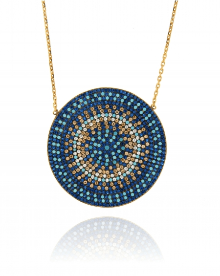 Multicolor Flat Disc Necklace