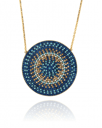 Sterling Silver Multicolor Flat Disc Necklace