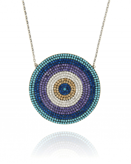 Sterling Silver Flat CZ Round Disc Necklace
