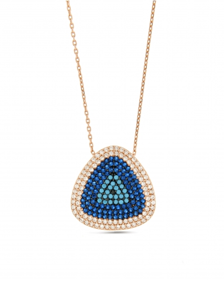 Turquoise CZ Triangle Necklace