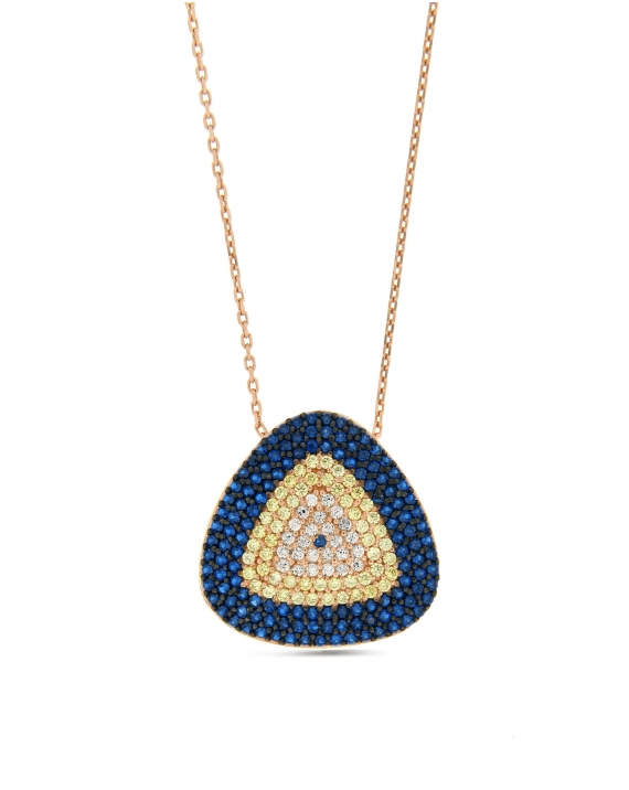 Sterling Silver Blue Triangle CZ Necklace