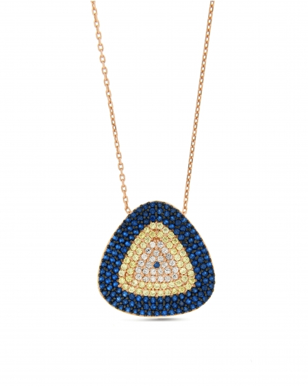 Blue Triangle CZ Necklace