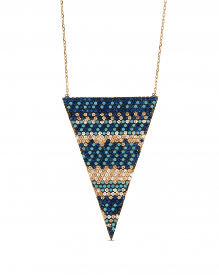Flat Multicolor Triangle Necklace