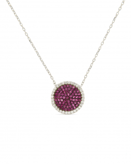 Sterling Silver White Pave Disc Necklace