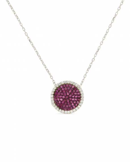 White Pave Disc Necklace