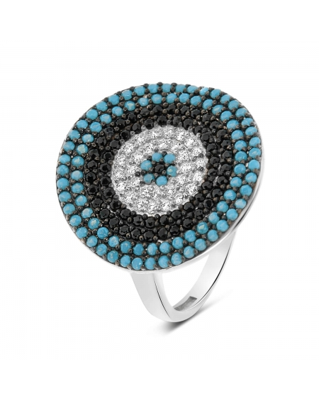 Sterling Silver Evil Eye Round Shape Ring
