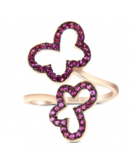 Sterling Silver Double Butterfly Ring